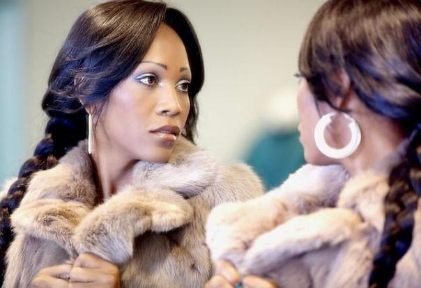 Fur coat.