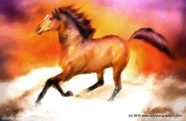 Red Gold Millennium Horse Digital Art Painting