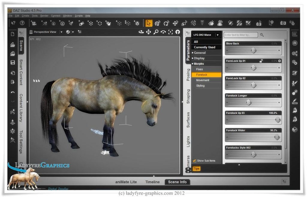 Some of the Morphs in my free conforming mane for the Daz Horse 2.