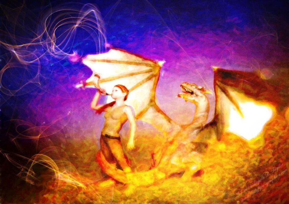 The Herald, digital fantasy art created in daz Studio with Genesis Aiko and Daz Sub dragon