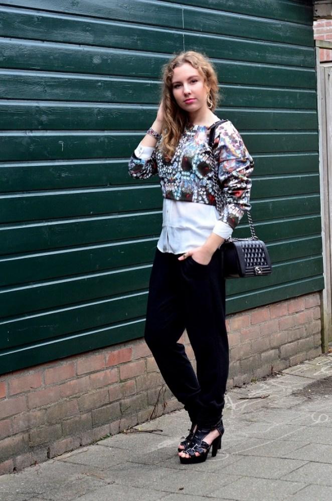 Chanel Bag, scuba top, joggers