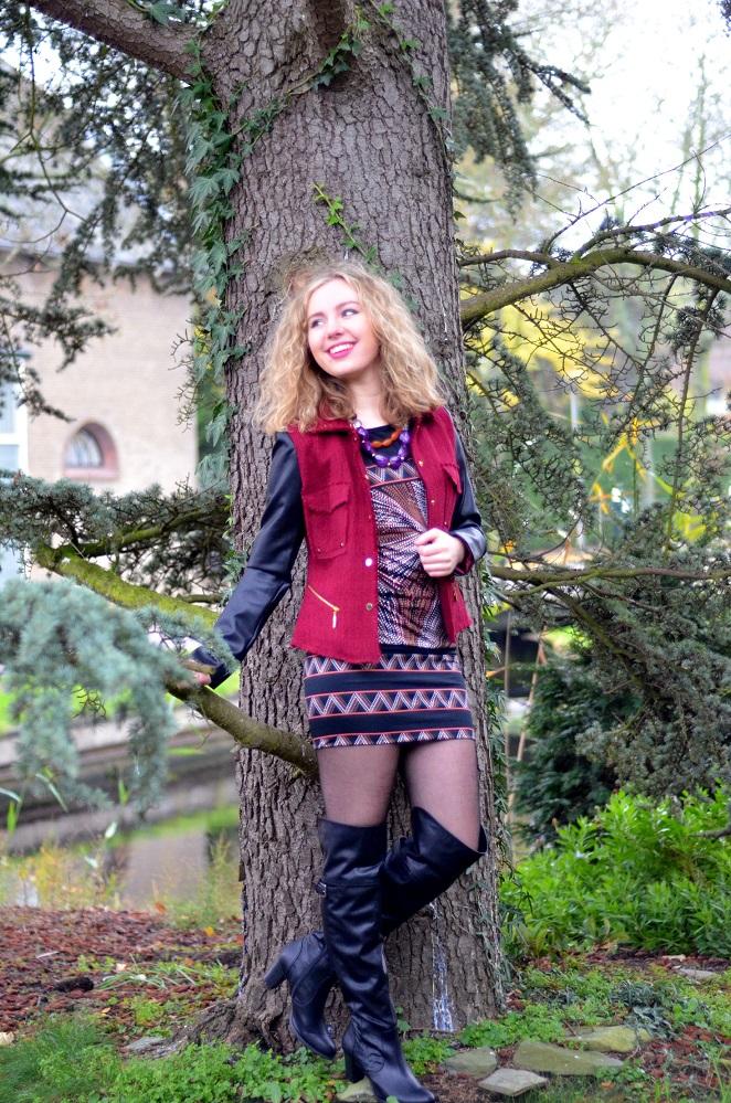 Charissa Goldapple, Ladygoldapple, Over The Knee boots, Bouclé Blazer, Leather Sleeves, Dress