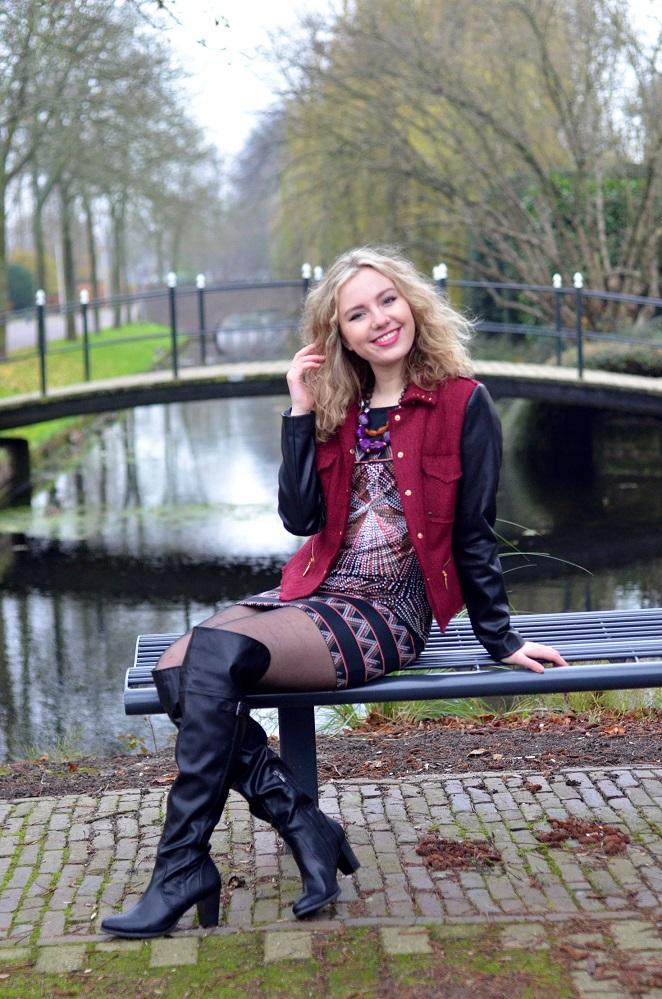 Charissa Goldapple, Ladygoldapple,Over The Knee boots, Bouclé Blazer, Leather Sleeves, Dress