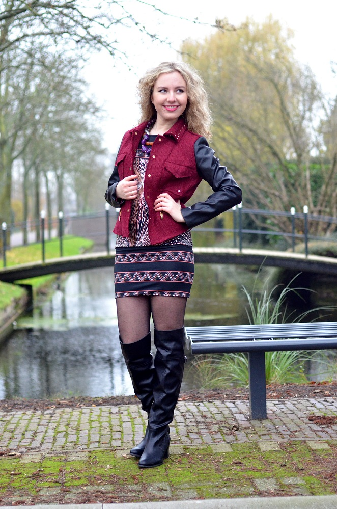 Charissa Goldapple, Ladygoldapple,Over The Knee boots, Bouclé Blazer, Leather Sleeves, Dress