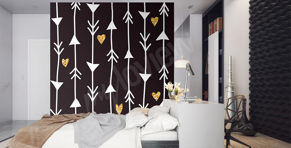 alt-papier-peint-mural-flèches-dorées-coeur-My-Loview