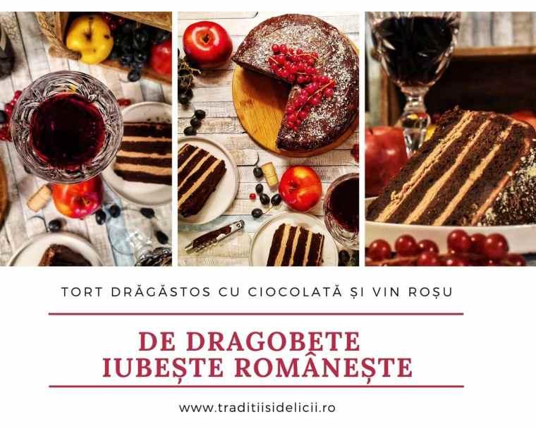 Tort drăgăstos cu ciocolată și vin roșu