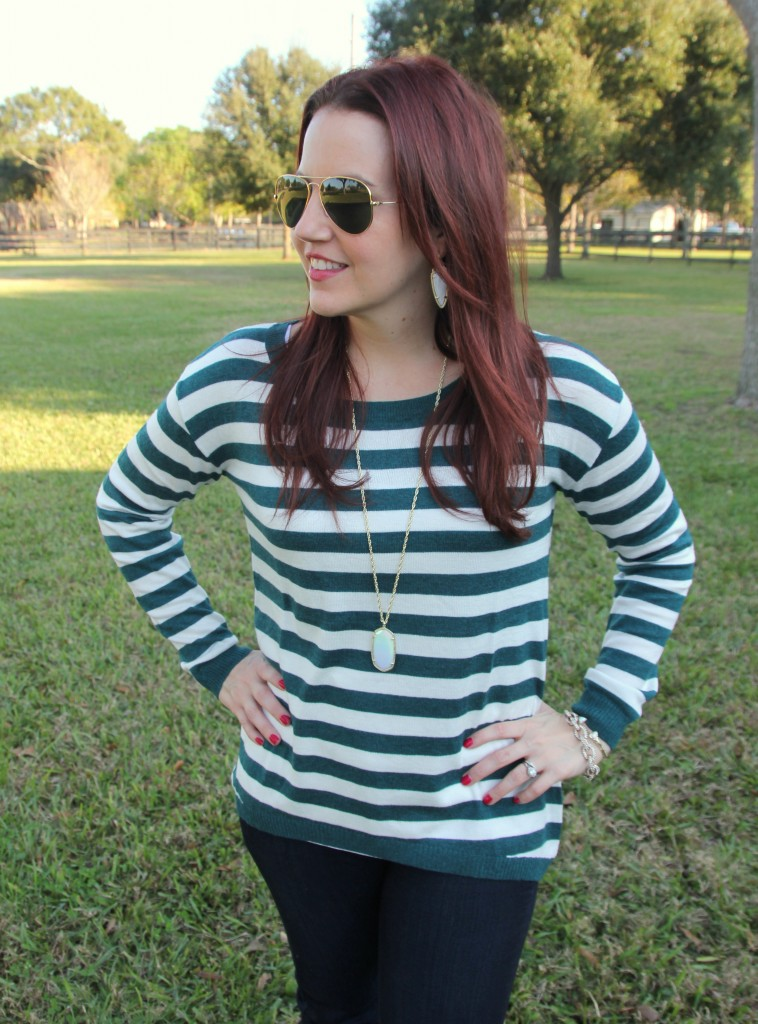 Teal Striped Sweater Lady In VioletLady In Violet