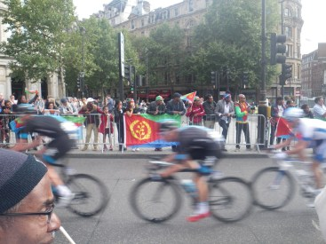 intense cycling at London Race
