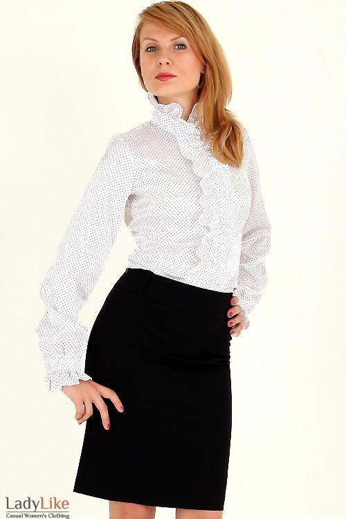 Блузка в мелкий горошек с рюшами — купить в интернет ...