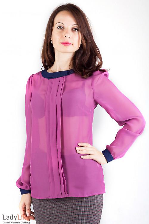 Блузка розовая с синим бантиком — купить в интернет ...