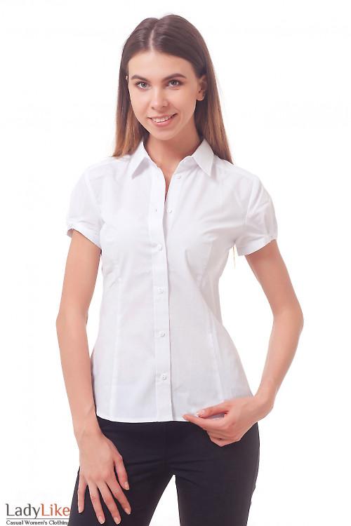 Блузка-рубашка белая с коротким рукавом — купить в ...