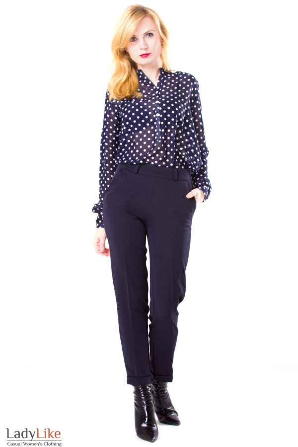 Блузка из шифона синяя в горох — купить в интернет ...