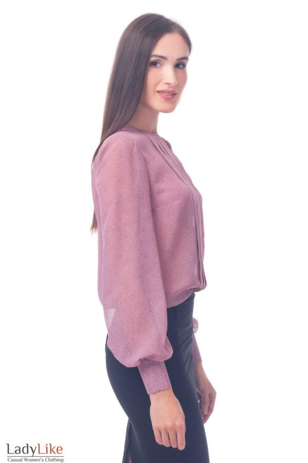 Блузка со складочками розовая в горошек — купить в ...