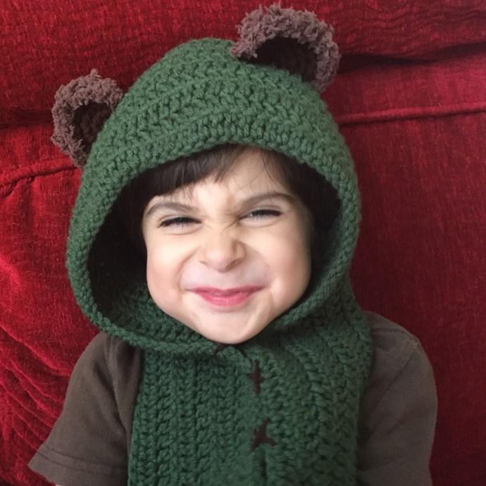 kids green star wars ewok scarf hood (scoodie)