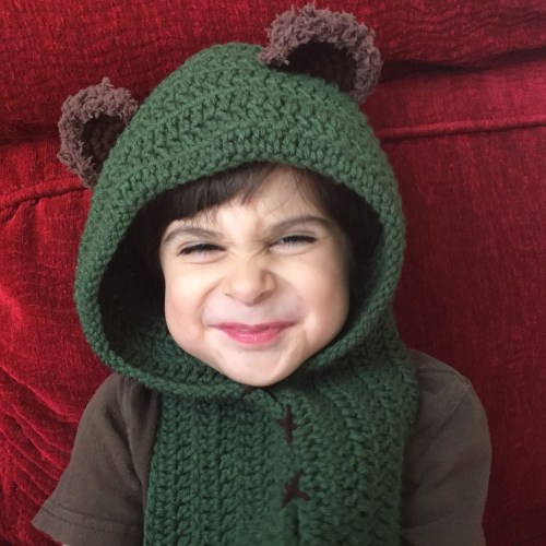 kids green star wars ewok scarf hood (scoodie)
