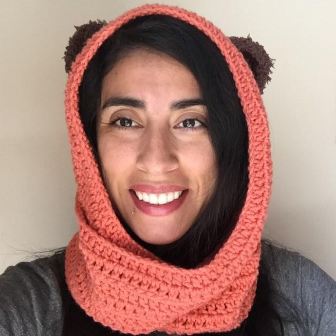 coral star wars ewok scarf hood (scoodie)