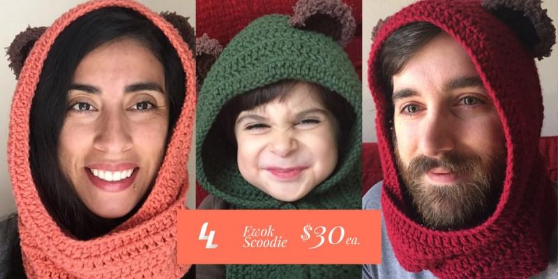 star wars ewok scarf hood (scoodie)