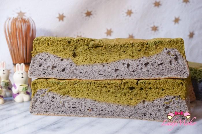 抹茶芝麻雙色天使蛋糕 小山園抹茶X新竹新福源黑芝麻醬 無油,無蛋黃,低糖食譜 快速消耗大量蛋白
