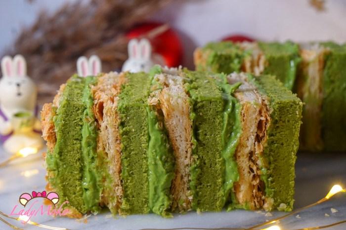 抹茶拿破崙食譜|法式千層+抹茶戚風蛋糕+抹茶卡士達鮮奶油 Milles Feuilles au Matcha