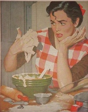 Vintage lady cooking
