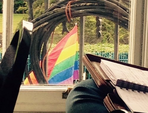 Pride flag and writing