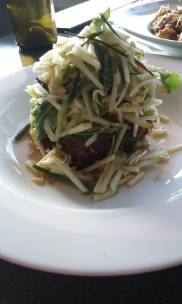 Roasted pork hock, sour apple & herb salad with palm sugar & chilli dressing