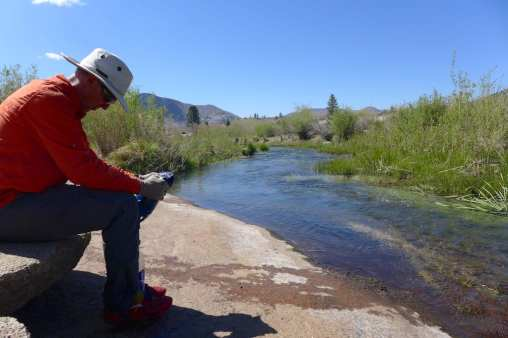 Filtering water at the North Fork of the Kern River