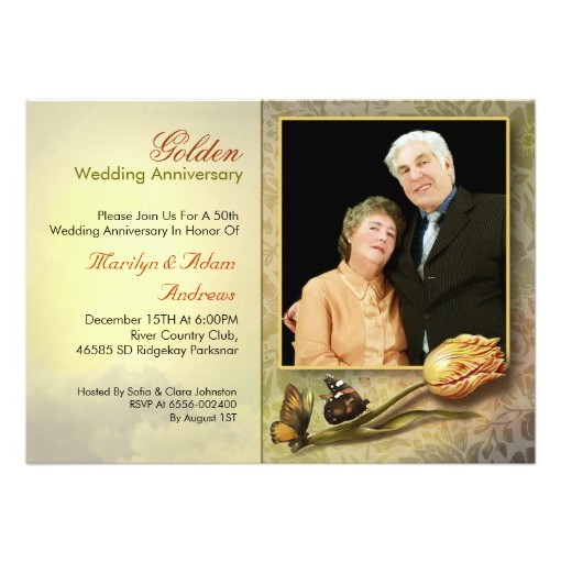 Golden Dot Years Wedding Anniversary Invitation Rounded Corners