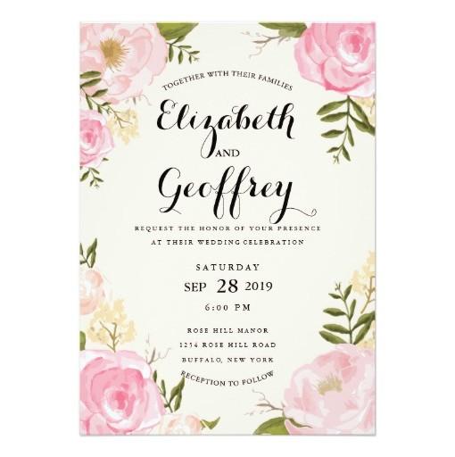 Modern Vine Pink Fl Wedding Invitation Card