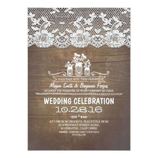 Rustic Country Mason Jars Wood Lace Wedding Invitation Card