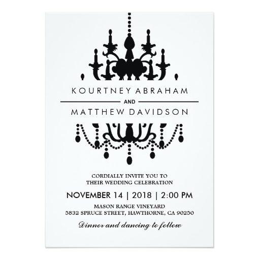 Vintage Chandelier Wedding Invitation Black White