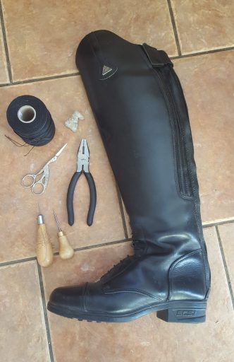 Leather boot repair