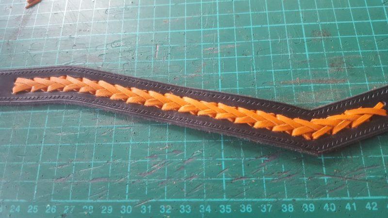 Orange plaited leather browband