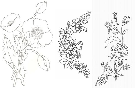 Вышивка гладью схемы работы для рисунков с цветами LS