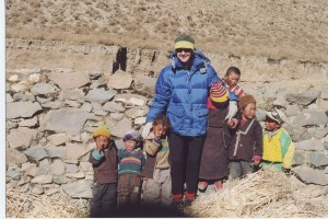 Miriam with Tibetan children the authors met while researching 'Lost in Tibet'