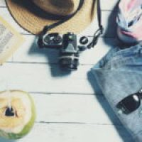 Zipper Back Halter Top & Tropical Shorts Set