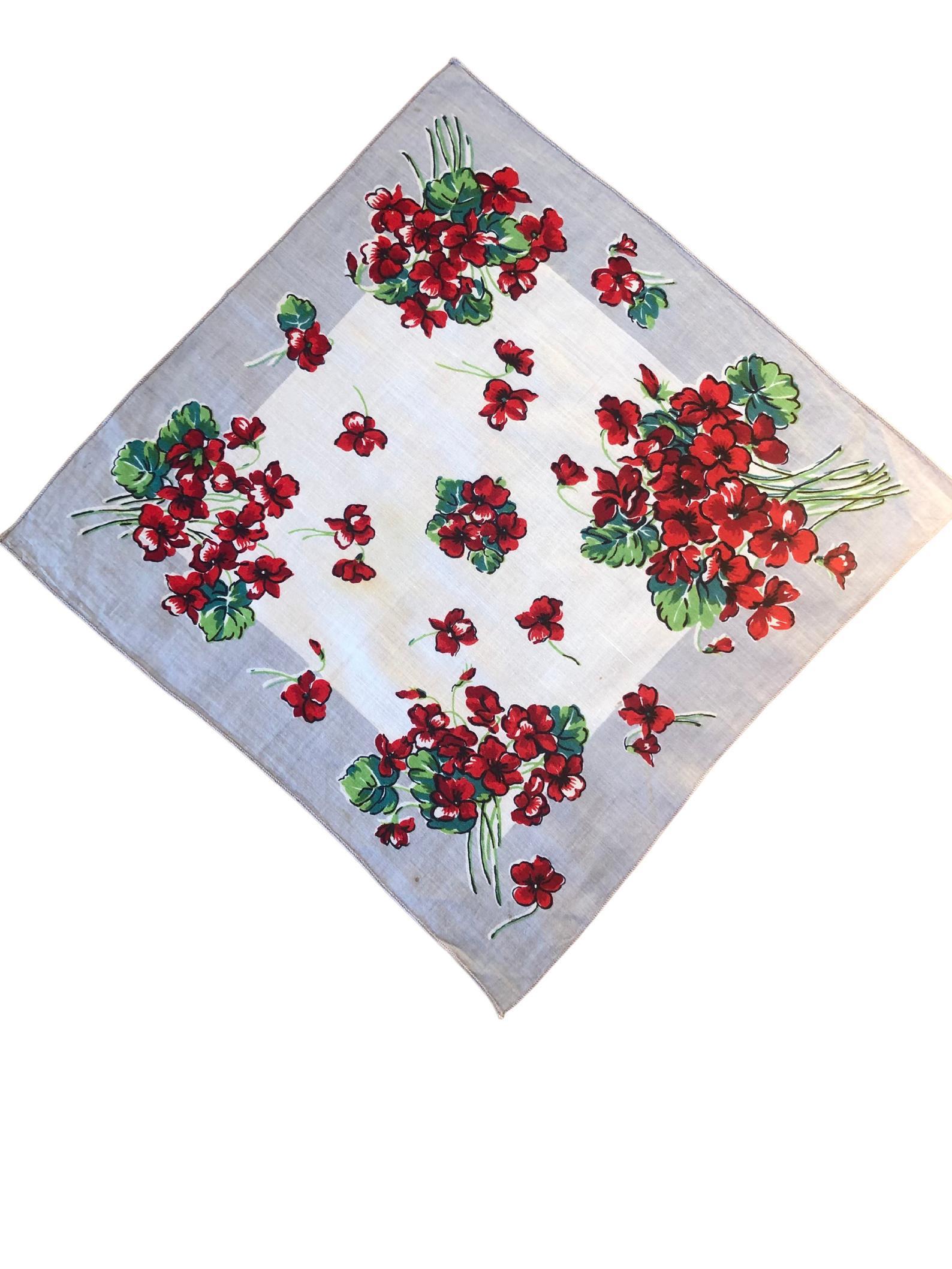 Vintage Geranium Handkerchief