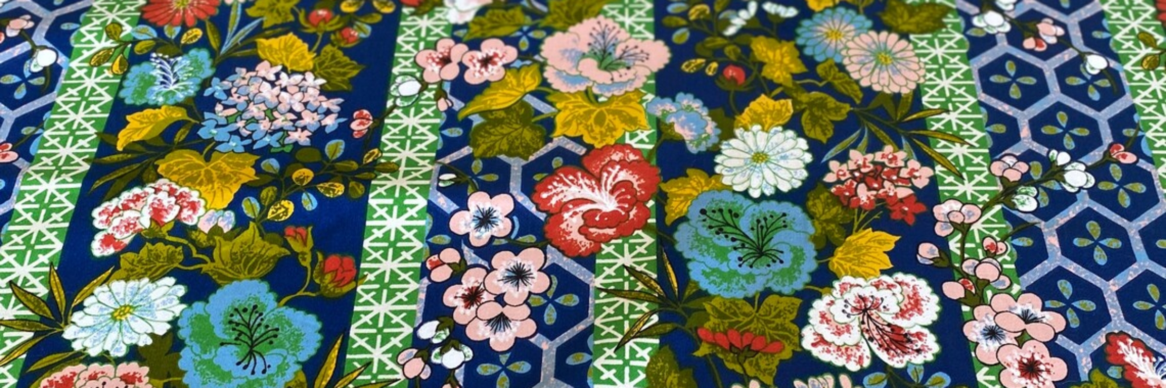 Vintage 1970s Cohama Fabrics Agra Floral Chinoiserie Fabric