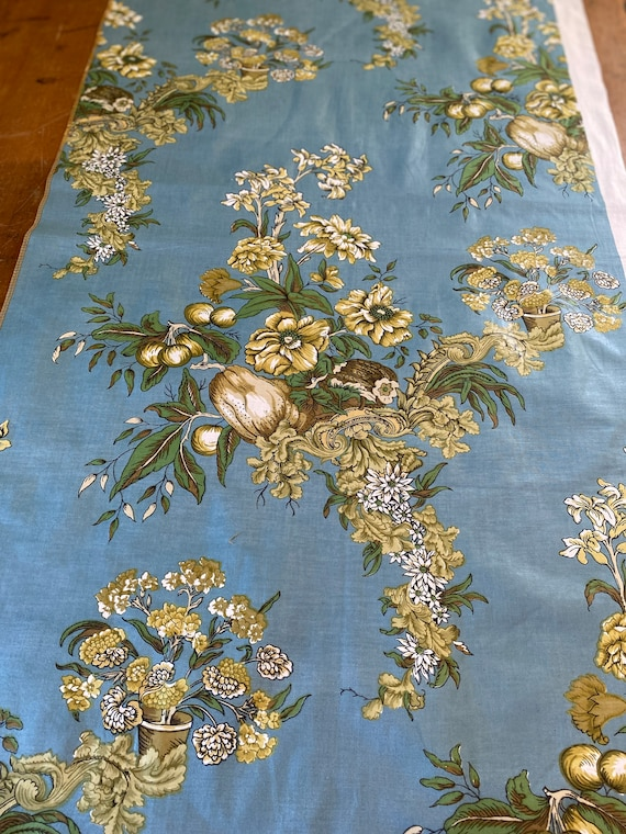 Vintage 1985 Bailey & Griffin Still Life Fabric Sample, Vintage Fruit and Flower Fabric