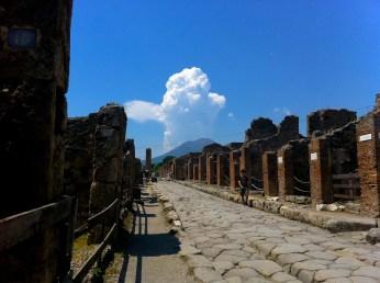 Streets of Pompeii and Vesuvius.