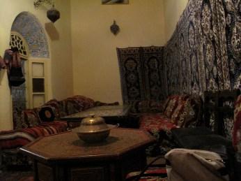 Interior of restaurant-home in Meknes, Morocco