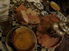 Traditional Moroccan soup, most likely made with semolina, served with local bread