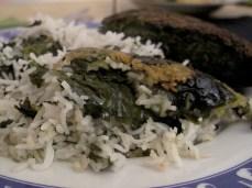 Sabdzi polo and Kuku sabdzi - traditional dishes, eaten during Shabe Yalda evening in Iran