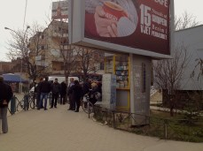 Lines at the lottery kiosk, Pogradec