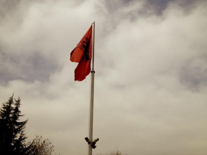 Flag of Albania in Pogradec