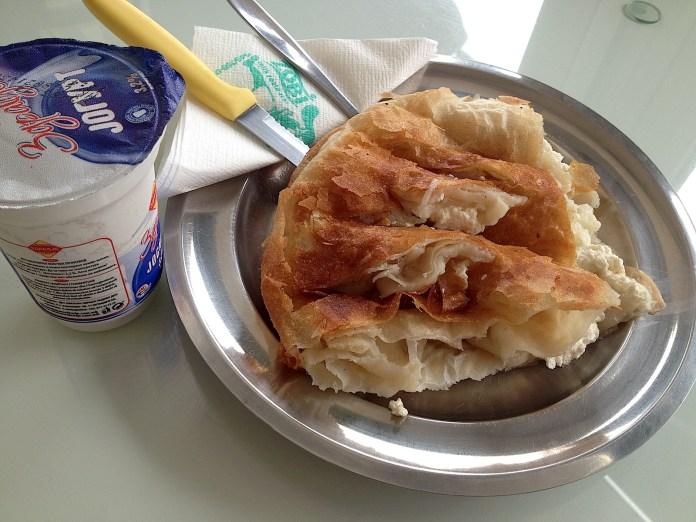 Burek with feta cheese filling and yoghurt