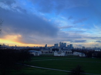 Sky views of London from Royal Observatory in Greenwich, UK