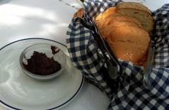 Bread with black olive pâté