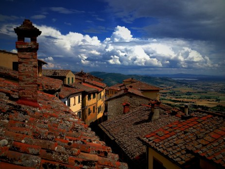 Tuscan roofs in Cortona