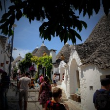 Tiny streets of Alberobello are quite crowded